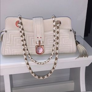 Versace Quilted White Leather Bag.